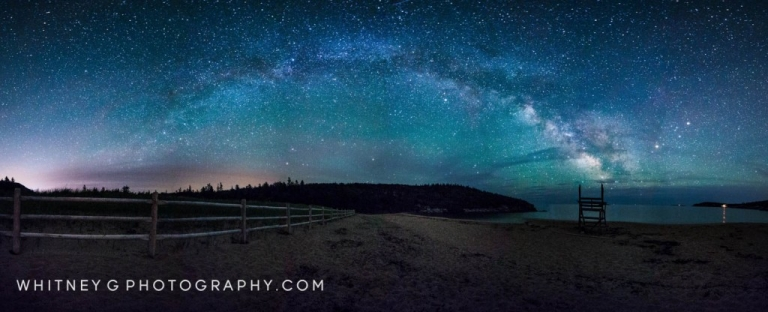 12 photo panoramic of the Milkyway over Sand Beach, Acadia ME